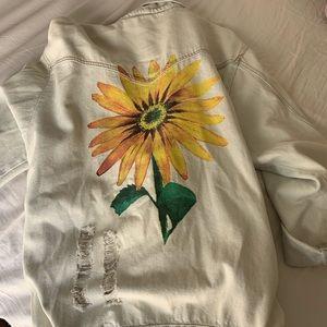 LF Sunflower Oversized Ripped Denim Jacket